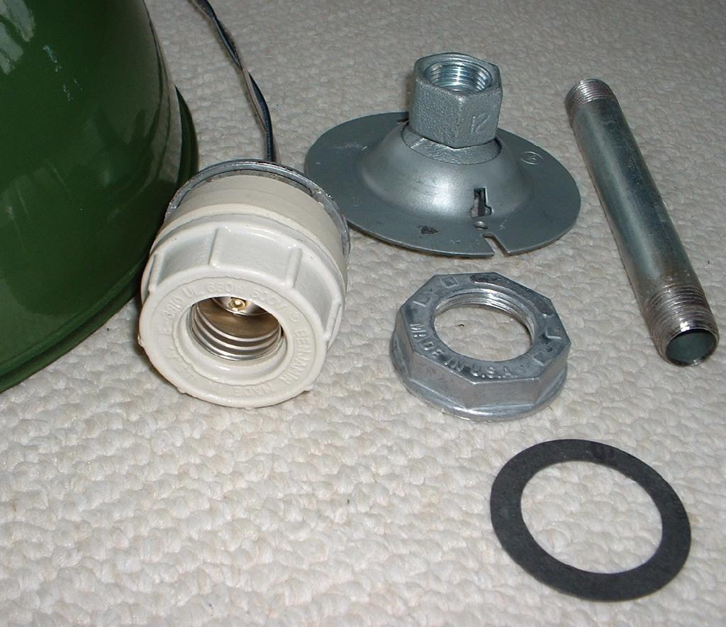 "Barn Light Socket: 1-12"" BENJAMIN Porcelain Pendant Industrial Green Vintage"