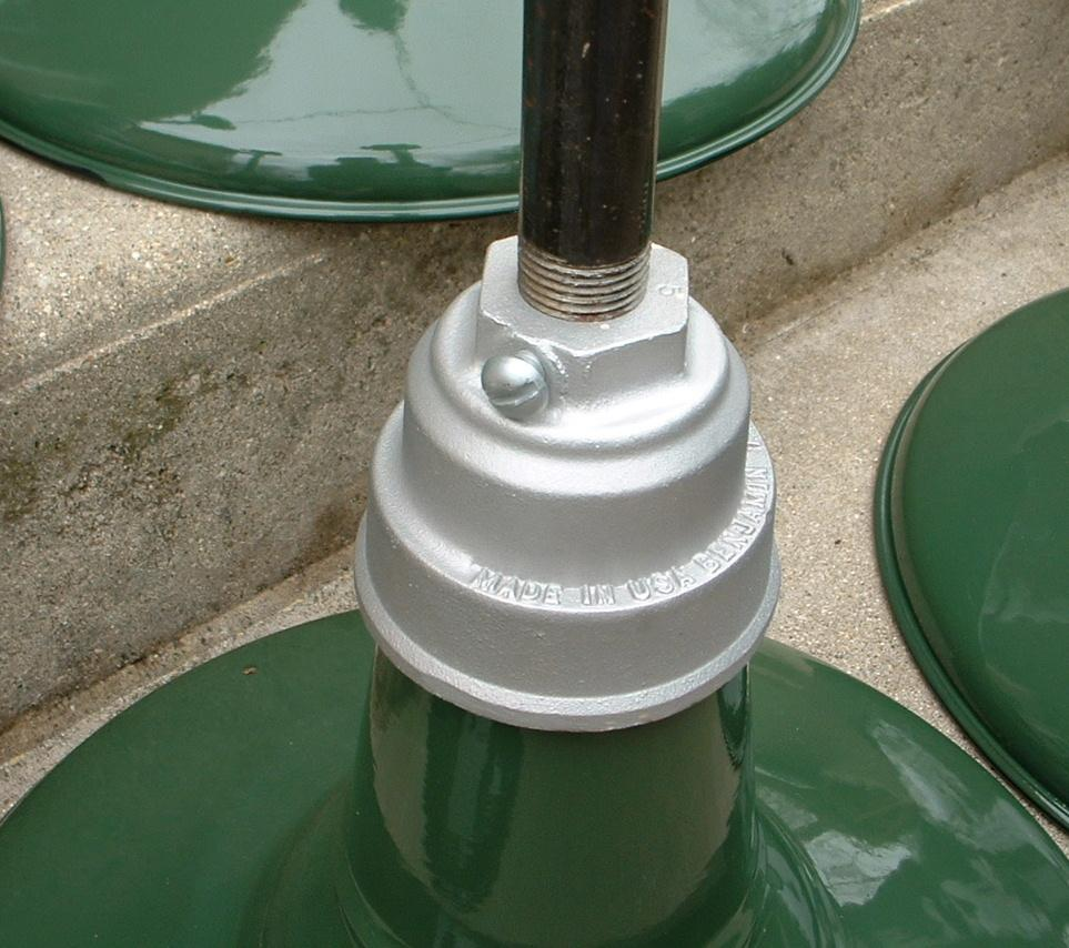 "Barn Light Socket: (1) VTG 14"" Benjamin Porcelain Pendant Industrial Green"