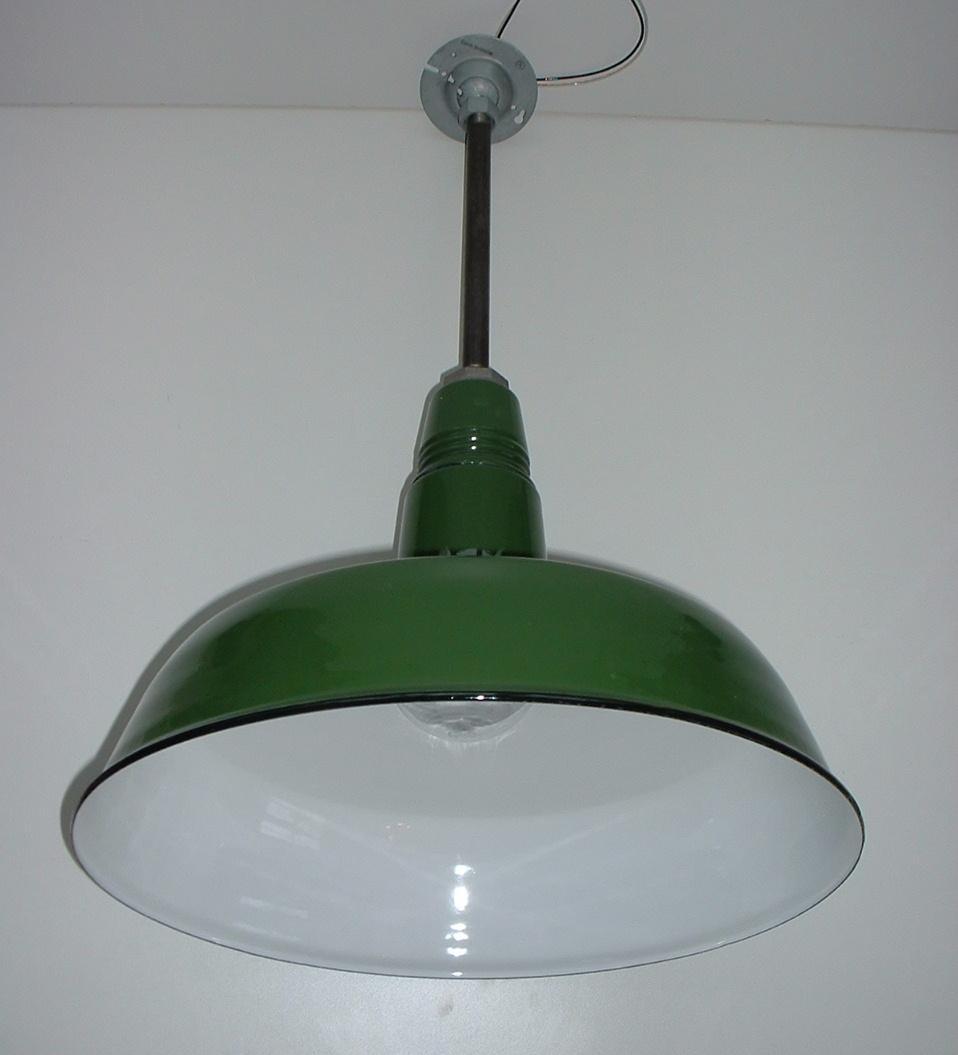"(1) VTG Appleton 20"" Porcelain Industrial CAGE Green Barn"
