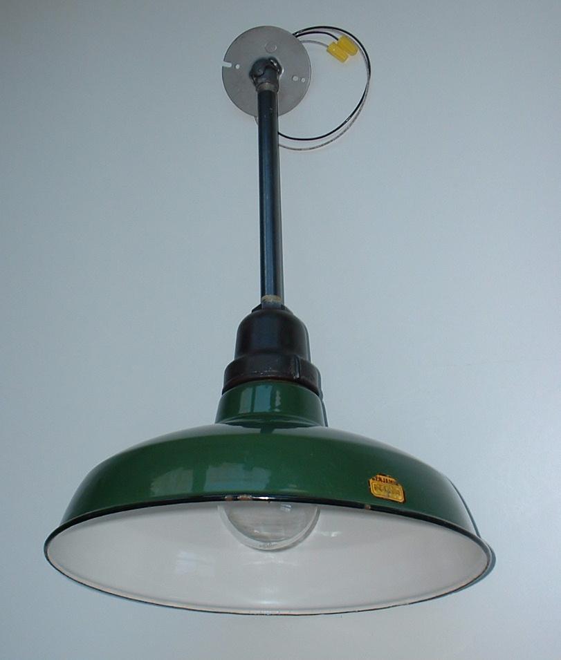 """Barn Light Originals: Vtg 16"""" BENJAMIN Green Porcelain Barn Light Industrial"""
