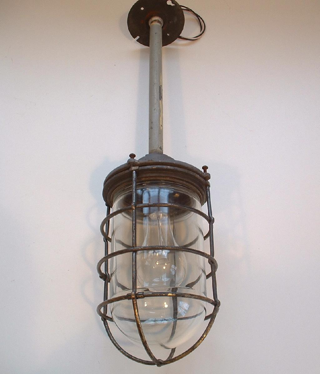 Vtg 1940s explosion proof russell stoll brass industrial light very very old and unusual industrial brass caged pendant light the body of the light is steel or iron the cage is brass aloadofball Choice Image