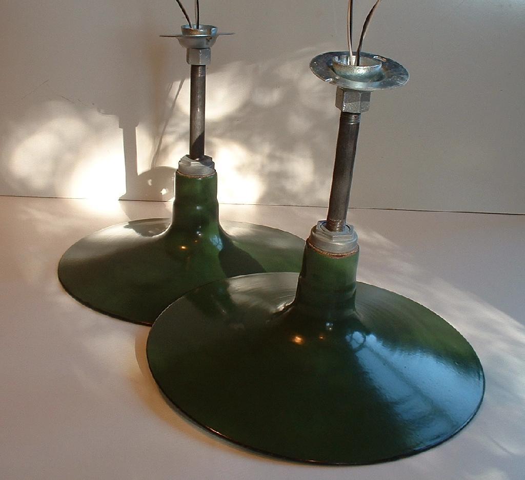 """Barn Light Socket: Pair 16"""" Shallow Porcelain Pendant Industrial Green Barn"""