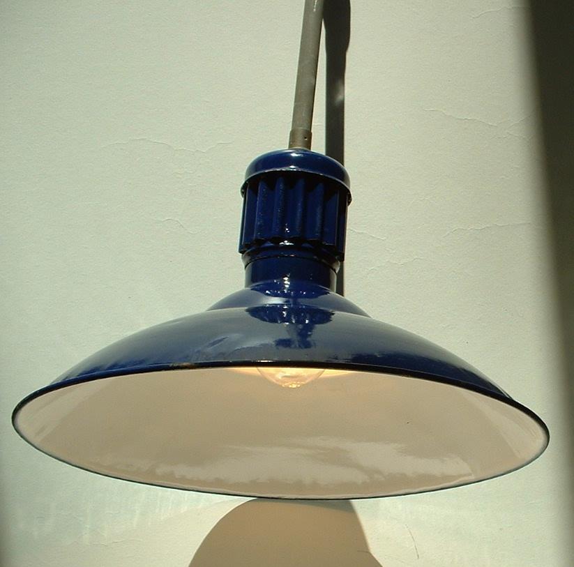 """1-16"""" Cobalt Blue Porcelain Barn Lights Fixture Shade"""