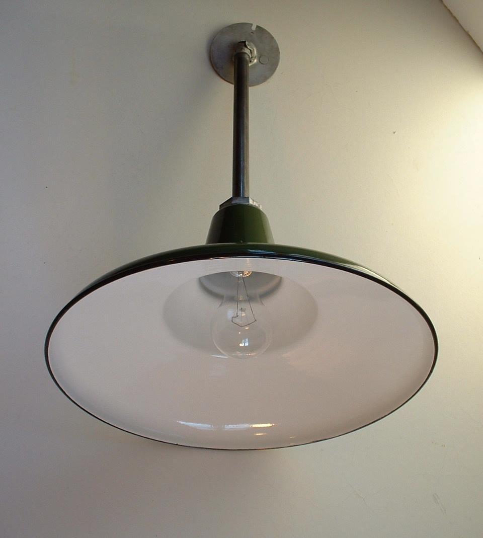 """Barn Light Socket: (1) VTG 16"""" Benjamin Porcelain Shallow Pendant Industrial"""