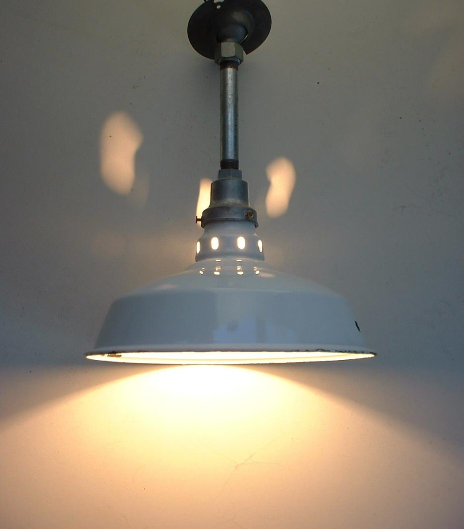 "Appleton 12"" White Porcelain Barn Light Old VTG Industrial"