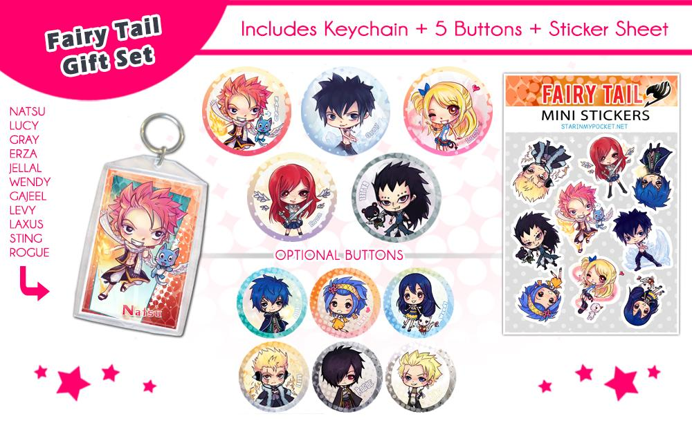 Fairy Tail Anime Gift Set Buttons Keychain Stickers Bundle